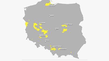 Tu nie ma bezrobocia. Obszary zaznaczone na żółto to miasta i powiaty gdzie stopa bezrobocia jest poniżej 5 procent