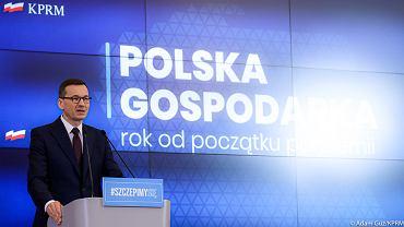 Premier Mateusz Morawiecki na konferencji prasowej