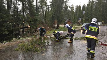 Bukowina Tatrzańska, straż pożarna usuwa połamane drzewa i gałęzie z dróg Podhala . Nad Polską przeszedł orkan Grzegorz .