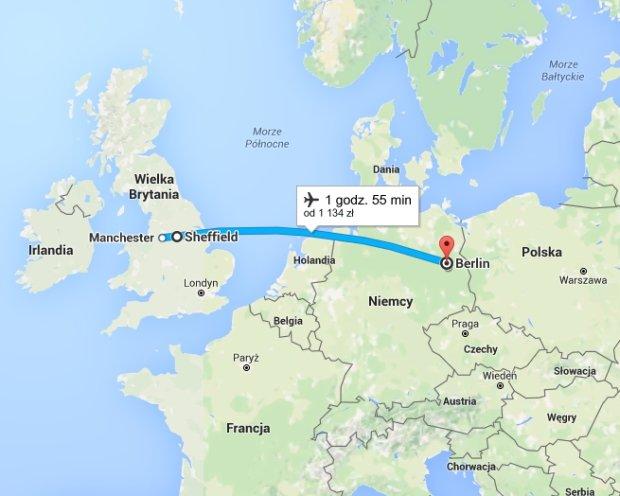 Trasa samolotu do Berlina
