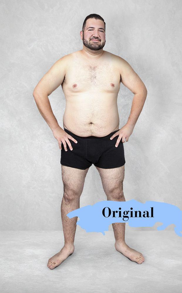 męskie ciało seksualne przed i po montacie