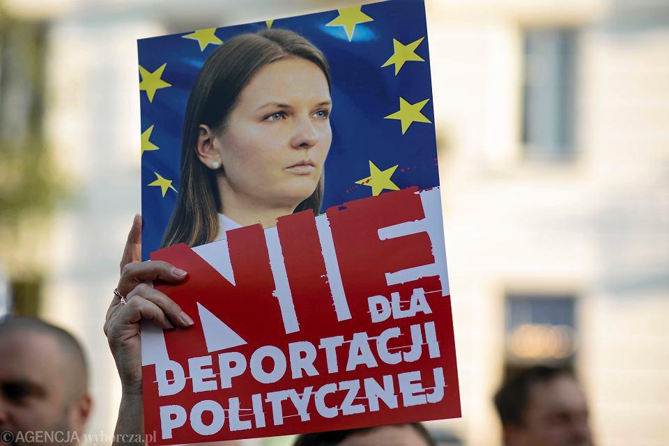 23.08.2018, Warszawa, manifestacja 'Bronimy Ludmiłę Kozłowką' pod siedzibą Ministerstwa Spraw Zagranicznych.