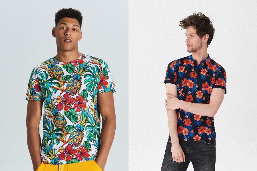 T-shirt męski z  egzotycznym wzorem