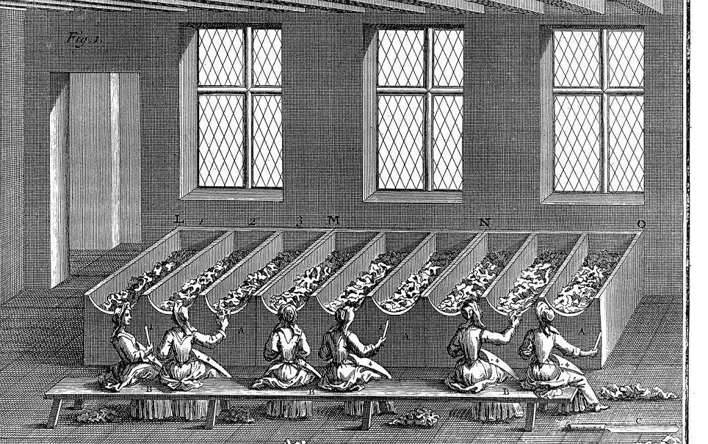 Sortownia szmat, wg. J. De La Lalande Art de faire le papier Paris 1761