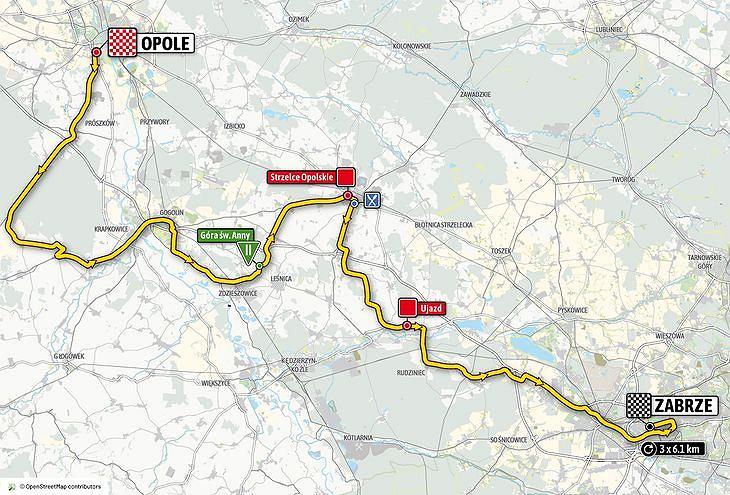 Mapa drugiego etapu wyścigu kolarskiego Tour de Pologne 2020