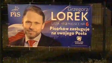 Plakat kandydata PiS Grzegorza Lorka