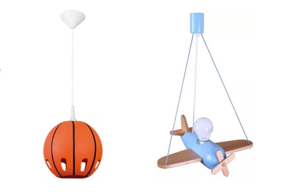 Wiszące lampy do pokoju chłopca: Samolot Clipper i Piłka.