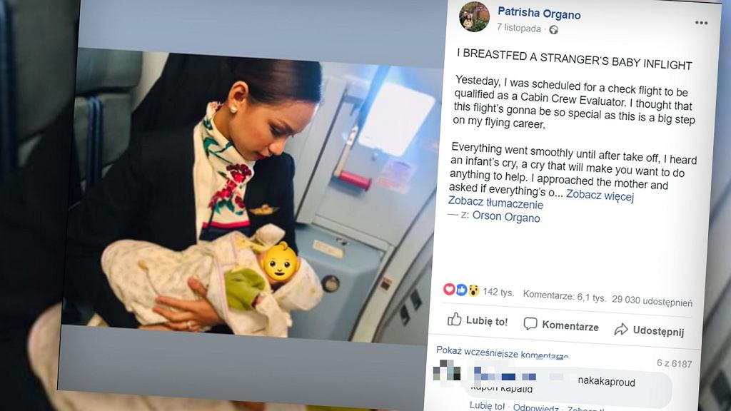Podczas lotu stewardesa karmiła piersią obce dziecko, ponieważ jego matce zabrakło pokarmu