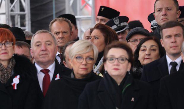 Donald Tusk podczas uroczystości na Placu Piłsudskiego