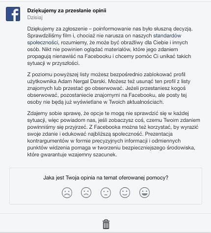 Odpowiedź Facebooka na zgłoszenie wideo Nergala