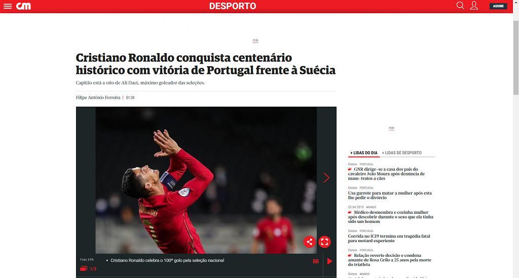 Portugalskie media zachwycone wyczynem Cristiano Ronaldo