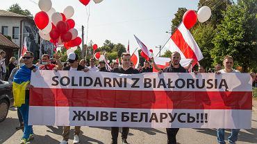 Kuźnica Białostocka. Akcja motocyklistów solidarności z Białorusinami 'Autostrada do wolności'