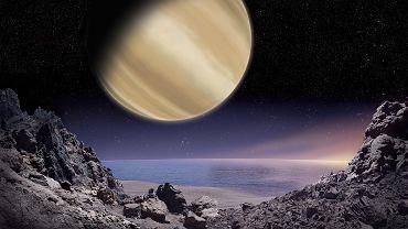 Artystyczna wizualizacja widoku na planetę BD+14 4599 b z powierzchni jej hipotetycznego księżyca. M. Mizera / PTA / IAU100