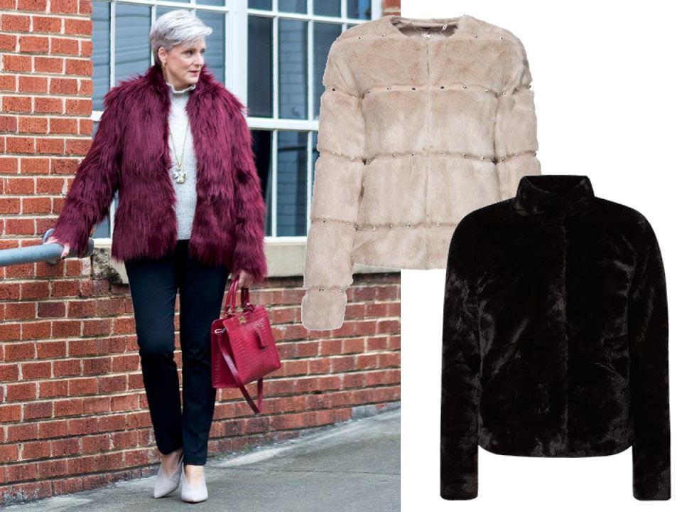 Krótki płaszcz futrzany dla kobiet po 50-tce