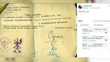 Grafika opublikowana na Facebooku Andrzeja Kani