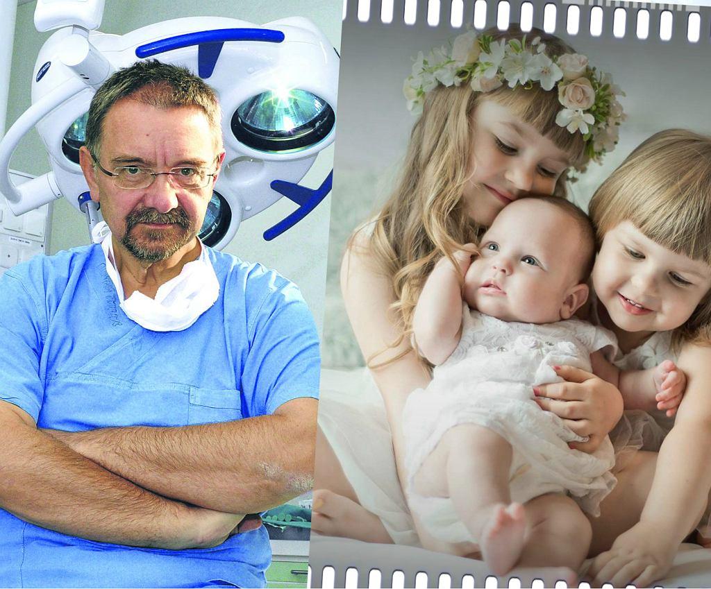 Profesor Romuald Dębski ze Szpitala Bielańskiego oraz mała Izabela Maria. Jej mamie odeszły wody w 17. tygodniu ciąży i lekarze z Siedlec uznali, że widać los tak chciał, a dziecko nie przeżyje. W Szpitalu Bielańskim udało się dziecko uratować.