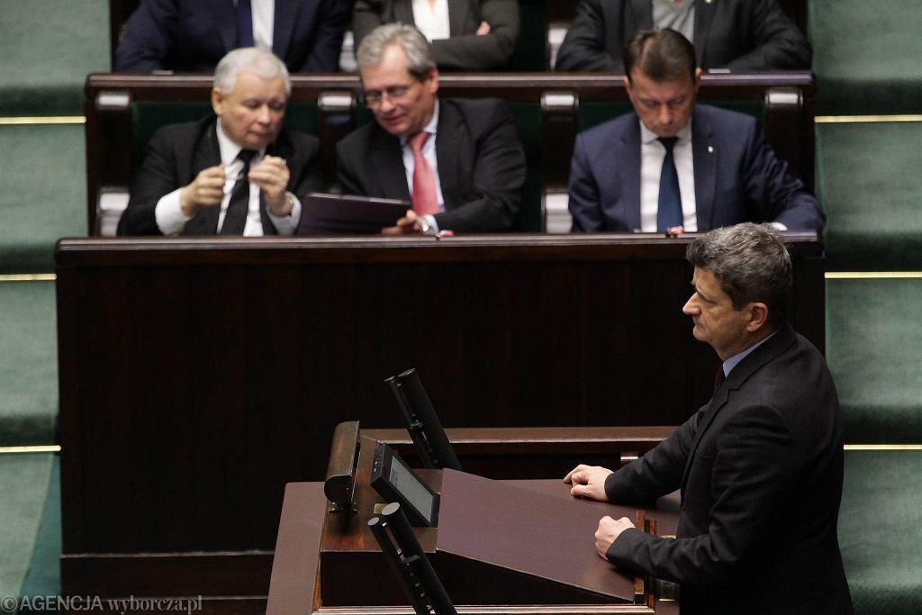 Poseł Janusz Palikot przed głosowaniem nad przyjęciem do porządku obrad projektu ustawy o związkach partnerskich