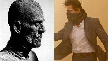 """Boris Karloff w klasycznej """"Mumii"""" i Tom Cruise, gwiazda nowej odsłony filmu"""