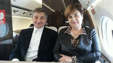 Krystyna Wróblewska, posłanka PiS, na pokładzie rządowego samolotu