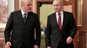 21.01.2020 Moskwa . Prezydent Władimir Putin i premier Michaił Miszustin przybywają na posiedzenie rządu.