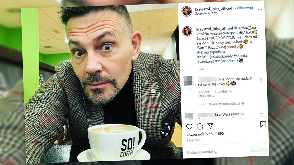 Krzysztof Ibisz zaskoczony ceną kawy na lotnisku w Szczecinie