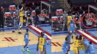 LeBron James rzut za trzy punkty bez patrzenia w meczu Los Angeles Lakers 117:110 Houston Rockets. NBA. Źródło: NBA TV