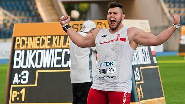 Konrad Bukowiecki, mistrz i rekordzista świata juniorów w pchnięciu kulą podczas tych zawodów w Bydgoszczy