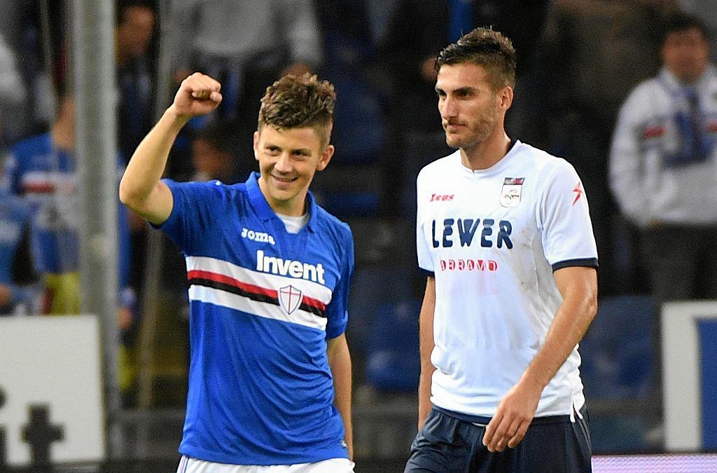Dawid Kownacki cieszy się z pierwszego gola w Serie A