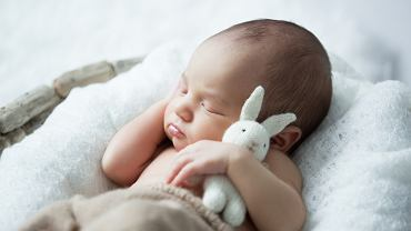 .Sweet,Newborn,Baby,Sleeps,With,A,Toy,Hare,On,A