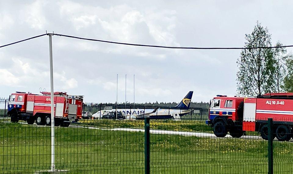Samolot, którym z Aten do Wilna leciał Roman Protasiewicz, po przymusowym lądowaniu w Mińsku, 23 maja 2021 r.