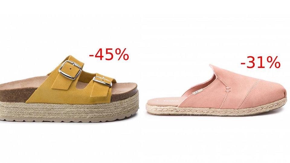 Sandały i klapki na naturalnych tworzywach z wyprzedaży