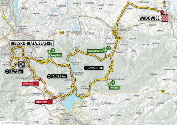Mapa trzeciego etapu wyścigu kolarskiego Tour de Pologne 2020