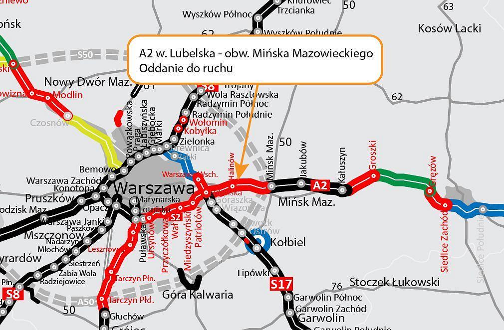 Autostrada A2, węzeł Lubelska - Mińsk Mazowiecki