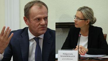 Donald Tusk i Małgorzata Wassermann podczas przesłuchania przed komisją ds. Amber Gold