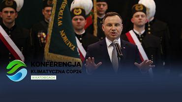 Prezydent Andrzej Duda podczas Akademii Barbórkowej w kopalni węgla kamiennego