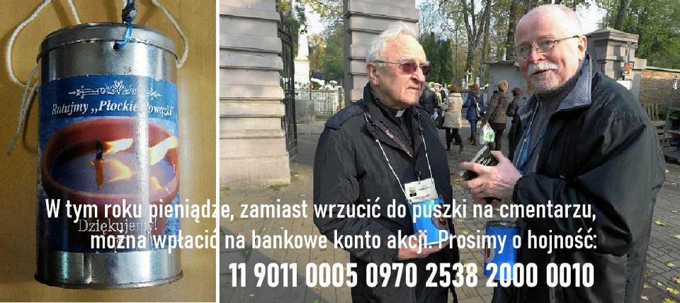 Dwaj kwestarze, od lewej: ks.prof. Andrzej Rojewski oraz prezes stowarzyszenia Starówka Płocka Jerzy Skarżyński