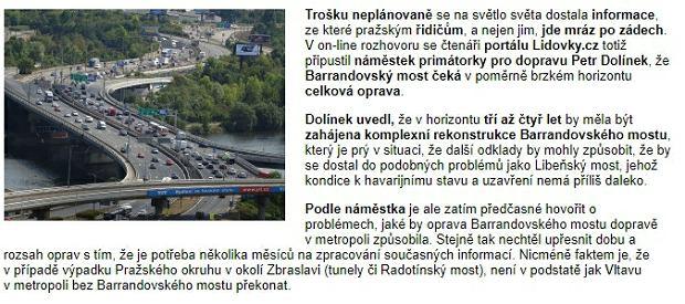 Materiał czeskiego serwisu o moście Barrandowskim