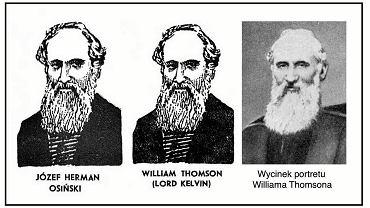 Z LEWEJ:Grafika z podpisem ilustrująca biogram Osińskiego w książce Poczet wielkich elektryków;  w środku: grafika z podpisem ilustrująca biogram lorda Kelvina w książce Poczet wielkich fizyków;  z prawej: portret lorda Kelvina z książki Wielcy twórcy nauki z 1939 roku, która była źródłem obrazów słynnych uczonych dla ilustracji