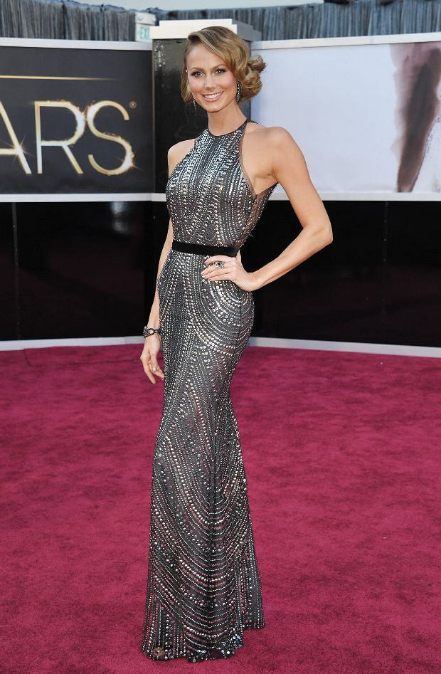 Stacy Keibler arrives at the Oscars at the Dolby Theatre on Sunday Feb. 24, 2013, in Los Angeles. (Photo by John Shearer/Invision/AP)