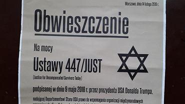 Plakat o 'roszczeniach' żydowskich