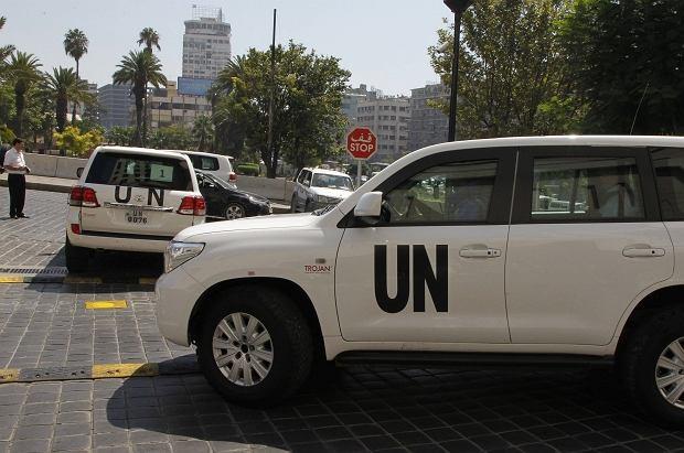 Samochody, którymi poruszają się po Syrii eksperci ONZ ds. broni chemicznej