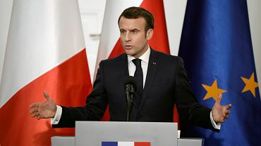 Prezydent Francji Emmanuel Macron podczas wizyty w Polsce