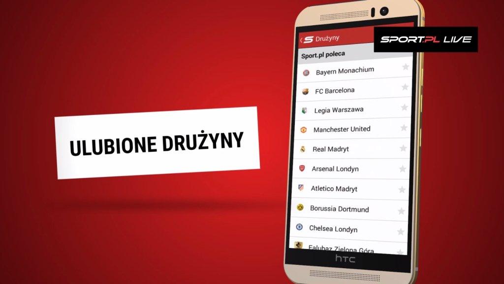 Ulubione drużyny w aplikacji Sport.pl LIVE