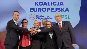 Liderzy Koalicji Europejskiej w dniu podpisania umowy o wspólnym starcie w wyborach do PE