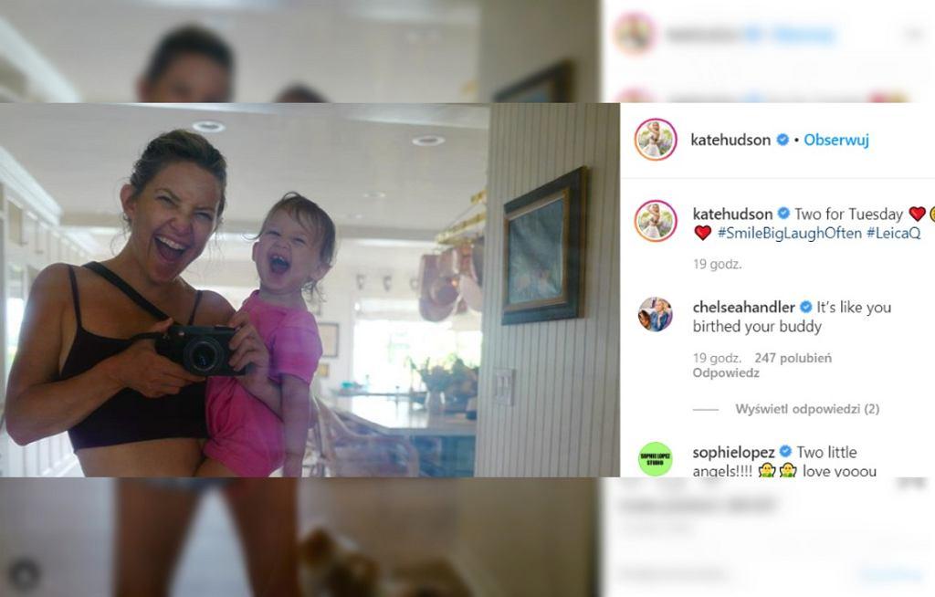 Kate Hudson z dzieckiem pokazuje brzuch
