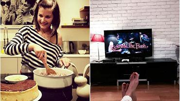 Agnieszka Sienkiewicz w kuchni, Agnieszka Sienkiewicz w salonie, na podłodze z psami i na kanapie z książką. Aktorka pokazuje na Instagramie swoje mieszkanie i - jak widać na zdjęciach - jest ono bardzo przytulne. Nic dziwnego, że Sienkiewicz tak często chodzi po nim w piżamie.