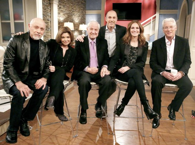2015 NBC via The Grosby Group  New York, March 18, 2015 In honor of the 25th anniversary of Pretty Woman, Matt Lauer and the Today show reunited the cast of the now-classic 1990 rom-com for a special interview airing Tuesday, March 24. Leading lady Julia Roberts and her former on-screen Prince Charming, Richard Gere met up with costars Laura San Giacomo and Hector Elizondo for a sit-down with Lauer and director Garry Marshall. As teased in a preview of the exclusive reunion, there was a lot of hugging, kissing, and catching up.  Please note: The Grosby Group does not claim any ownership including but not limited to Copyright or License in the attached material. Fees charged by The Grosby Group are for The Grosby Groups services only, and do not, nor are they intended to, convey to the user any ownership of Copyright or License in the material. By publishing this material you expressly agree to indemnify and to hold The Grosby Group and its directors, shareholders and employees harmless from any loss, claims, damages, demands, expenses (including legal fees), or any causes of action or allegation against The Grosby Group arising out of or connected in any way with publication of the material.