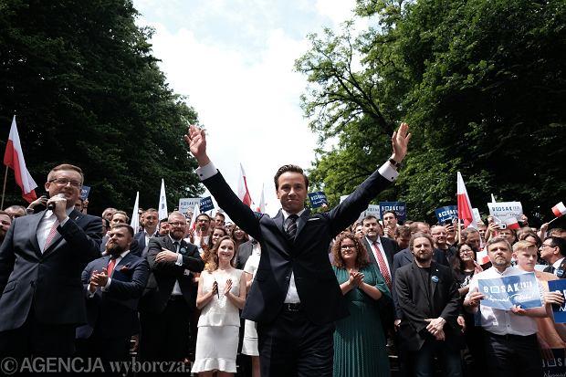 20.06.2020 Warszawa , Park Rydza - Śmigłego . Konwencja Wyborcza Krzysztofa Bosaka . Na zdjęciu : Krzysztof Bosak .