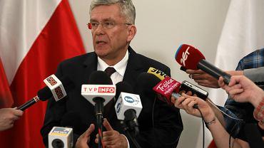 Marszalek Senatu Stanisław Karczewski podczas briefingu prasowego. Warszawa, 31 stycznia 2018