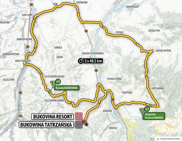 Mapa czwartego etapu wyścigu kolarskiego Tour de Pologne 2020